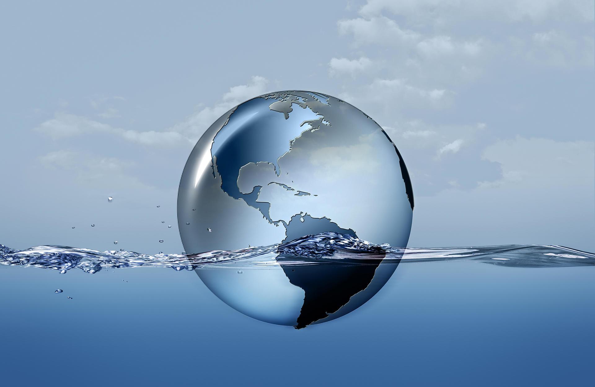 Jorden i vandoverflade